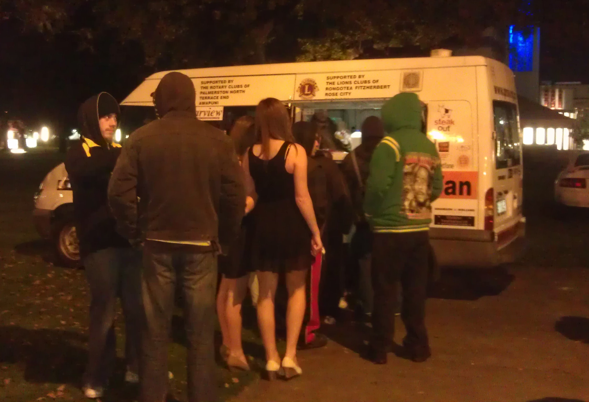 Street Van giving out food during weekends at night